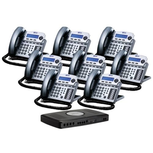 XBLUE Networks X16 Corded Telephone Bundle, Titanium Metallic, Set of 8