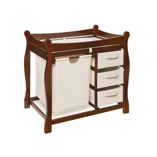 Badger Basket Sleigh Style Changing Table with Hamper/3 Baskets, Cherry