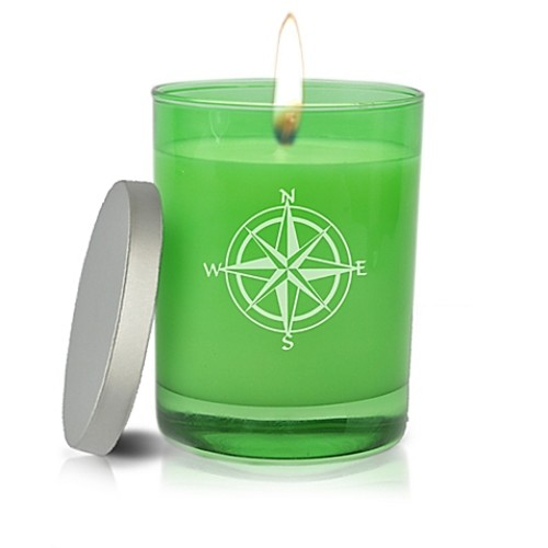 Carved Solutions Gem Collection Compass Rose Soy Jar Candle in Emerald