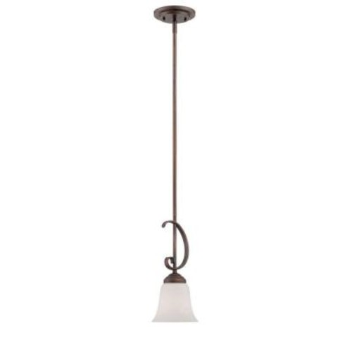 Millennium Lighting Rubbed Bronze Pendant with Etched White Glass