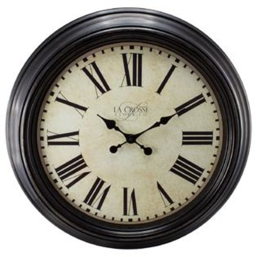 La Crosse Technology La Crosse Clock 404-2658 Brown 23-inch Round Antique Dial Analog Wall Clock with Roman Numerals