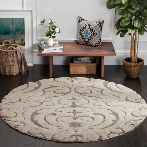 Safavieh Florida Shag Cream/Beige 6 ft. 7 in. x 6 ft. 7 in. Round Area Rug