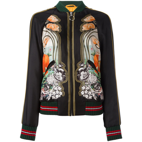 GUCCI Elephant And Waterlily Print Bomber Jacket