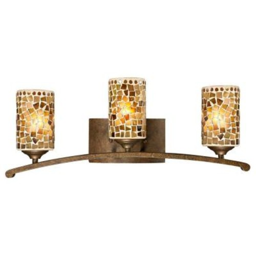 Dale Tiffany Knighton 3-Light Antique Golden Bronze Vanity Bar Light with Mosaic Art Glass