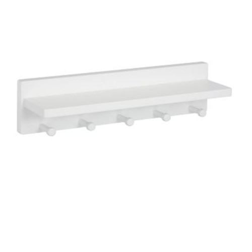 Honey Can Do Wall Shelf with 5 Pegs, White (SHF-04401)