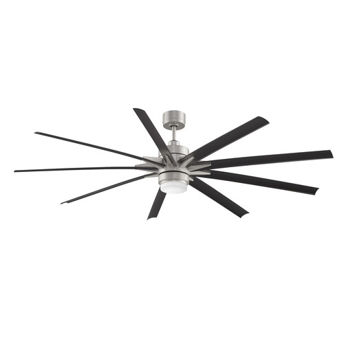 Odyn Outdoor Ceiling Fan with Light [Finish : Brushed Nickel + Black]