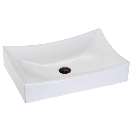 Lenova White Vitreous China Clay 25.5 x 15.25 Rectangle Vessel Bathroom Sink