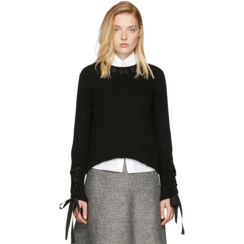 FENDI Black Cashmere Ribbon Sweater