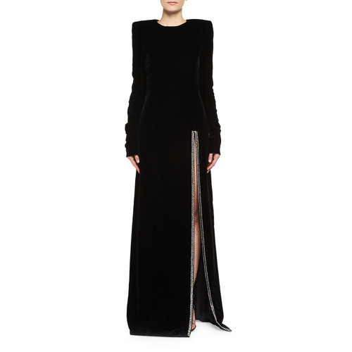 SAINT LAURENT Long-Sleeve Velvet Crystal-Slit Gown