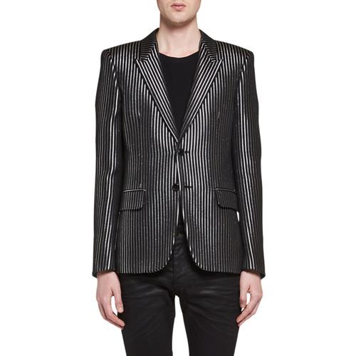 SAINT LAURENT Metallic-Stripe Evening Jacket, Black/Gray