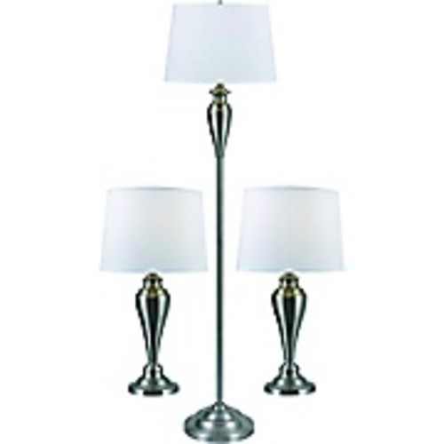 Kenroy Home Edson Table and Floor Lamp Set, Brushed Steel Finish