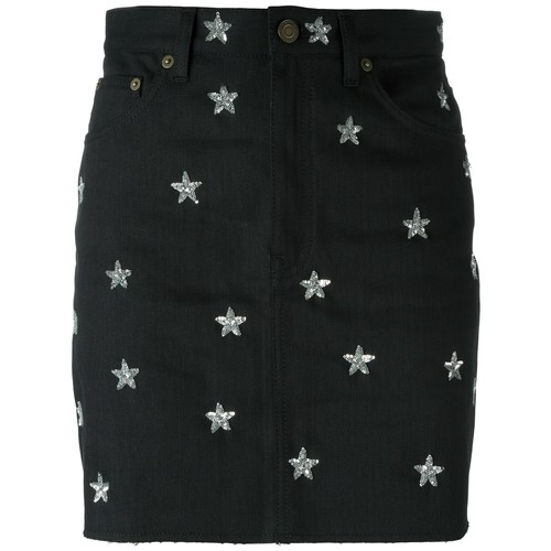 SAINT LAURENT Star Embroidered Denim Skirt
