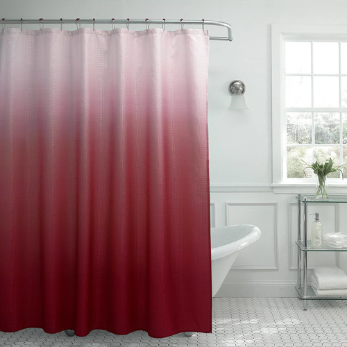 Creative Home Ideas Ombre Waffle Weave 70 in. W x 72 in. L Shower Curtain with Metal Roller Rings in Red
