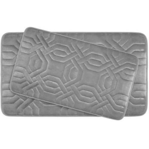 BounceComfort Chain Ring Light Gray Memory Foam 2-Piece Bath Mat Set