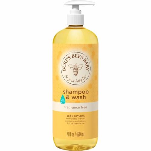 Burt's Bees Baby Shampoo & Wash, Fragrance Free & Tear Free Baby Soap - 21 Ounce Bottle [Fragrance Free]