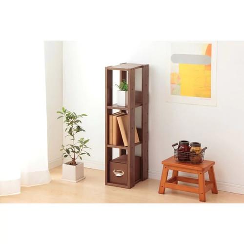 IRIS 3-shelf Brown Slim Wood Storage Shelving Unit