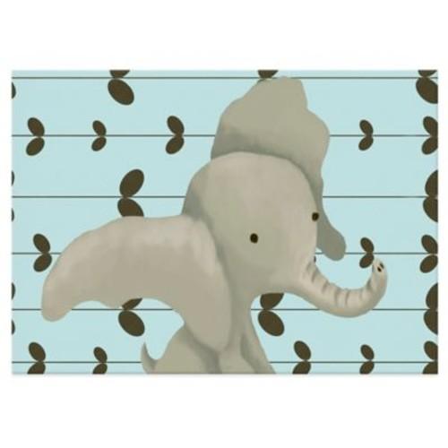 Oopsy Daisy Edison the Elephant Canvas Wall Art in Blue