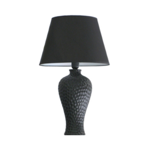 Simple Designs 19.5-in Black Standard Indoor Table Lamp with Fabric Shade (Set Of 1)