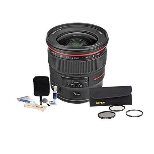 Canon EF 24mm f/1.4L II USM AutoFocus Wide Angle Lens Kit - USA - with Tiffen 77mm Wide Angle Filter Kit, Professional Lens Cleaning Kit,