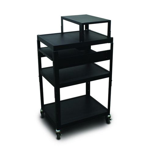 Marvel Vizion Adjustable Height Cart with Expansion Shelf and Two Side Pullout Shelves