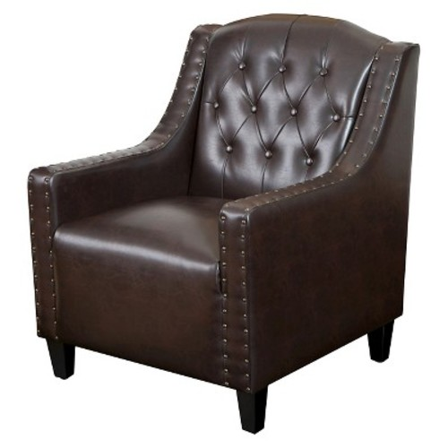 Gabriel Tufted Bonded Leather Club Chair Brown - Christopher Knight Home
