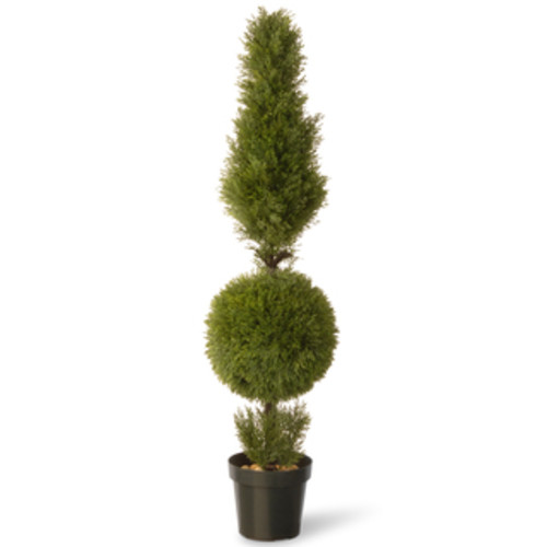 Nearly Natural 5168 5-Foot Indoor/Outdoor Cypress Ball and Cone ... [Tree - Silk]