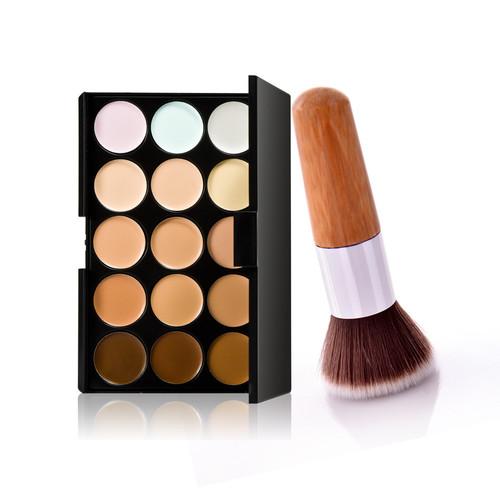 12 PCS Cosmetic Eyeshadow Lip Blush Foundation Makeup Brushes Set + Black Case