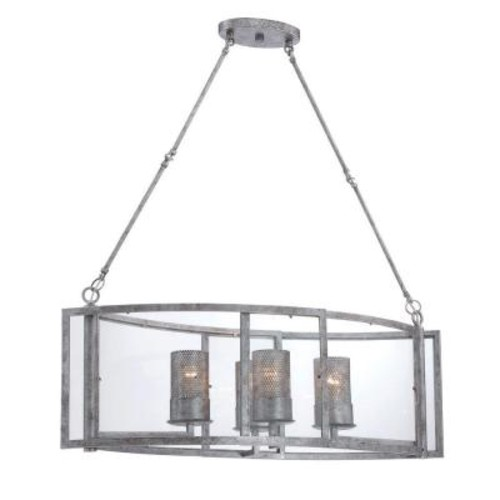 Varaluz Jackson 4-Light Antique Silver Linear Pendant with Arched Windowpane Glass
