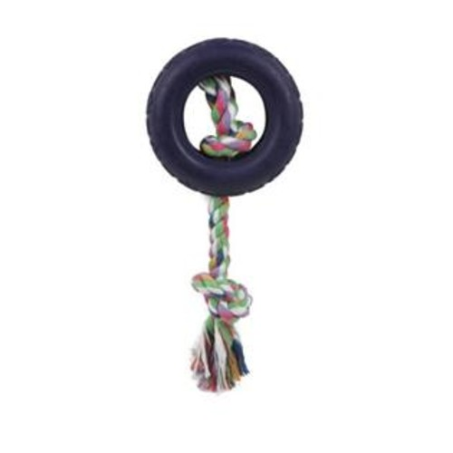 PetLife Central Rubberized Pet Chew Rope And Tire