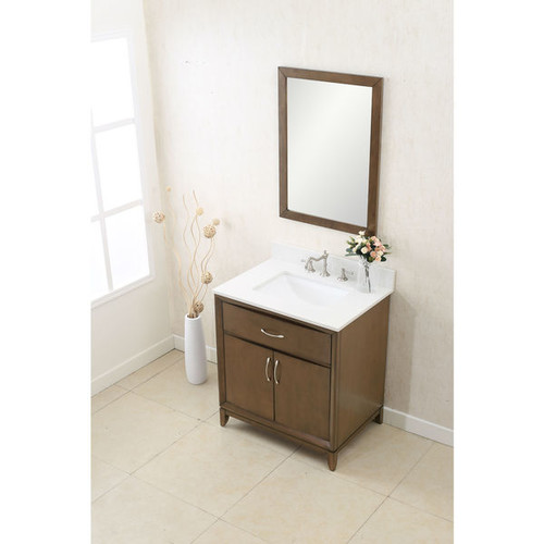 Legion Furniture Antique Coffee-colored 30-inch Single-sink Quart-top Vanity with Matching Wall Mirror - Antique Coffee