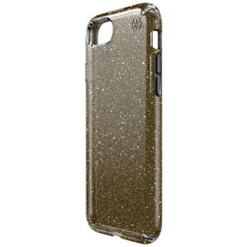 Presidio Clear Glitter Case for iPhone 7 (Onyx Black with Gold Glitter)