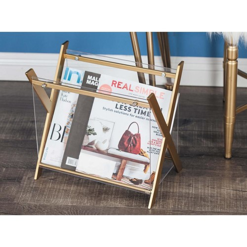 X-Frame Gold-Finished Iron and Clear Acrylic Magazine Holder
