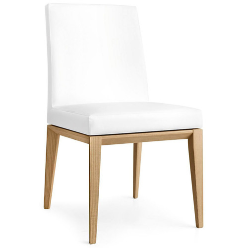Bess Low Chair [Fabric type and color : S92 Optic White Skuba; Frame : P128 Wenge Beech Wood]