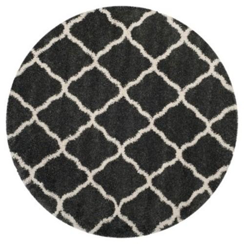 Safavieh Hudson Shag Dark Gray/Ivory 7 ft. x 7 ft. Round Area Rug