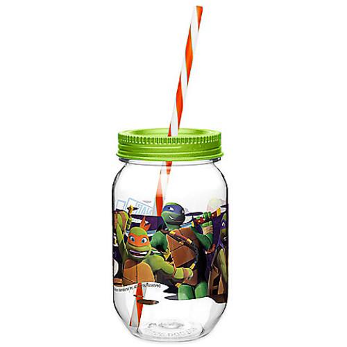 Zak! Designs TMNT 19-Ounce Tritan Canning Jar Tumbler with Straw