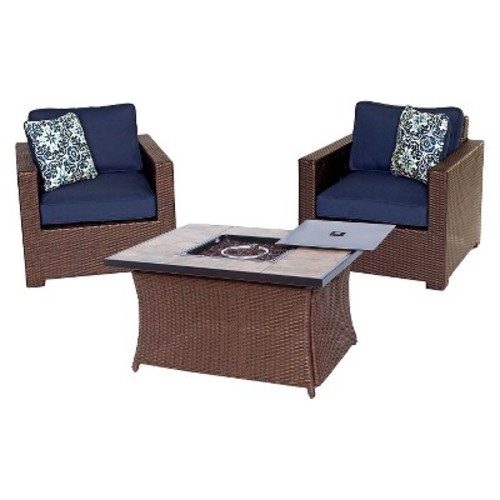 Hanover Metropolitan 3-Piece All-Weather Wicker Patio LP Gas Fire Pit Chat Set with Sahara Sand Cushions