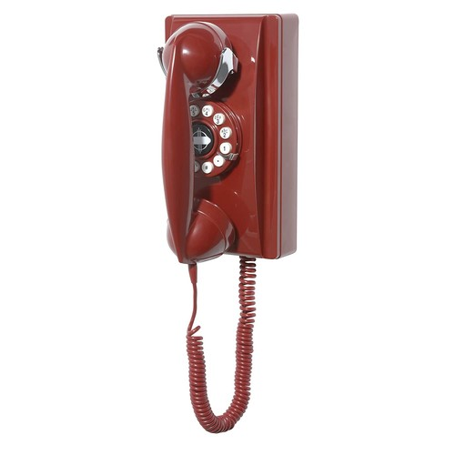 Crosley CR55-RE Wall Phone with Push Button Technology, Red [Red]