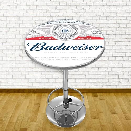 Trademark Budweiser Label Design Chrome Pub/Bar Table