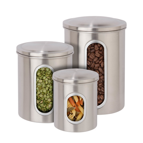 Honey-Can-Do 3-Pc. Steel Canister Set - Silver