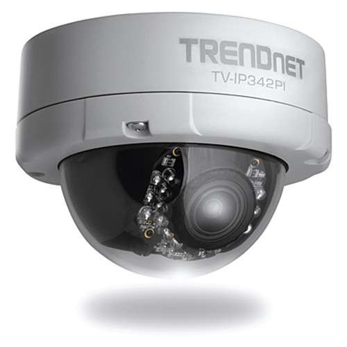 TrendNet Outdoor 2MP Day/Night Network Camera - Dome Camera, PoE, Full 1080 HD Resolution 1920 x 1080, Night vision up to 50ft, H.264, 3x Optical Zoom - TV-IP342PI