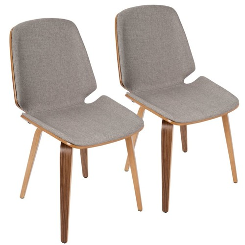 LumiSource Serena Mid-Century Modern Dining Chairs, Light Gray/Walnut, Set Of 2
