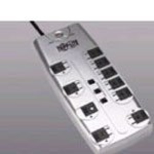 Tripp Lite 10 Outlet Surge Protector Power Strip, 8ft Cord, Right-Angle Plug, Tel/Modem/Coax Protection, RJ11, & $150,000 INSURANCE (TLP1008TELTV)