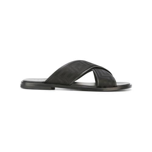 Greek key crossover sandals