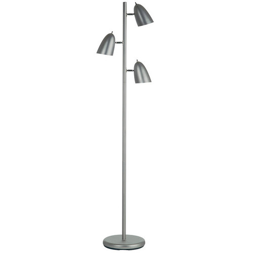 Dainolite Satin Chrome 3-light Floor Lamp with Adjustable Heads