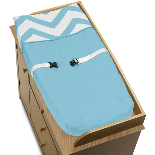 Sweet Jojo Designs Turquoise and White Chevron Collection Changing Pad Cover