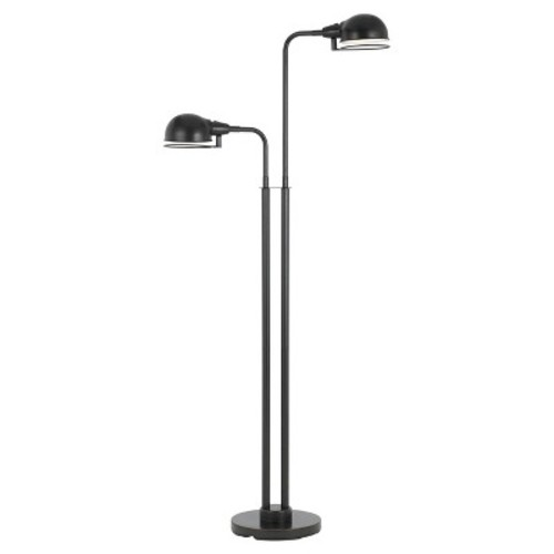 Paxton Twin LED Light Metal Floor Lamp With Swivel Shades Bronze