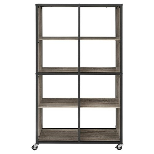 Mason Ridge Mobile Bookcase/Room Divider with Metal Frame, Sonoma Oak/Black [Sonoma Oak]