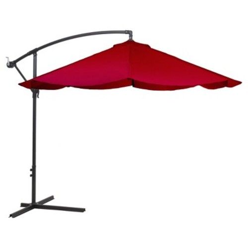 Pure Garden 10 ft. Offset Aluminum Hanging Patio Umbrella in Red