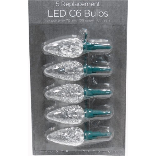 Celebrations Cool White LED C6 Replacement Bulbs 5/Pack (11201-71)