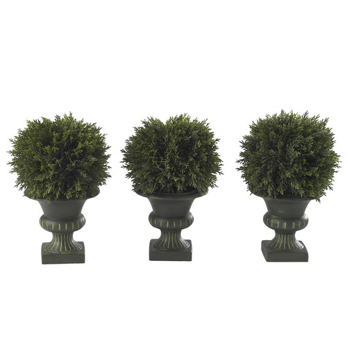 nearly natural 3-pc. Cedar Topiary Set